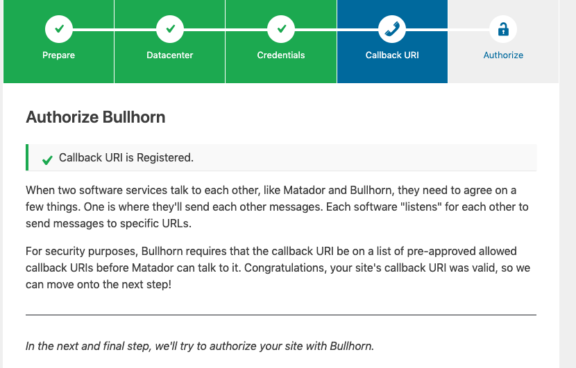 Screenshot of the Callback URI step of the Bullhorn Connection Assistant