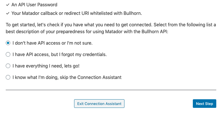 Screenshot of the Prepare step of the Bullhorn Connection Assistant tool