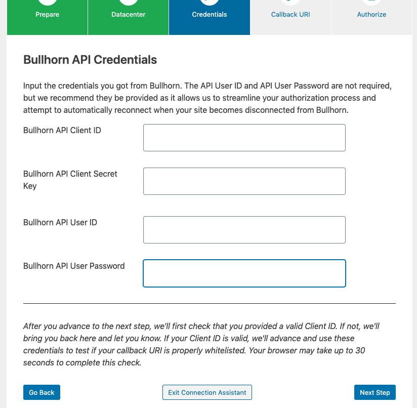 Screenshot of the Credentials step of the Bullhorn Connection Assistant