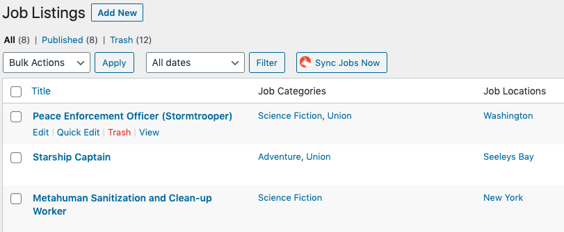 A screenshot of the WordPress admin screen for Matador Jobs Job Listings.