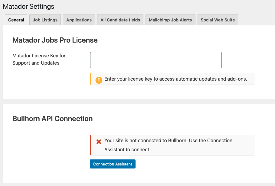 Screenshot of the General Tab of Matador Settings, with a focus on the Bullhorn API Connection setting
